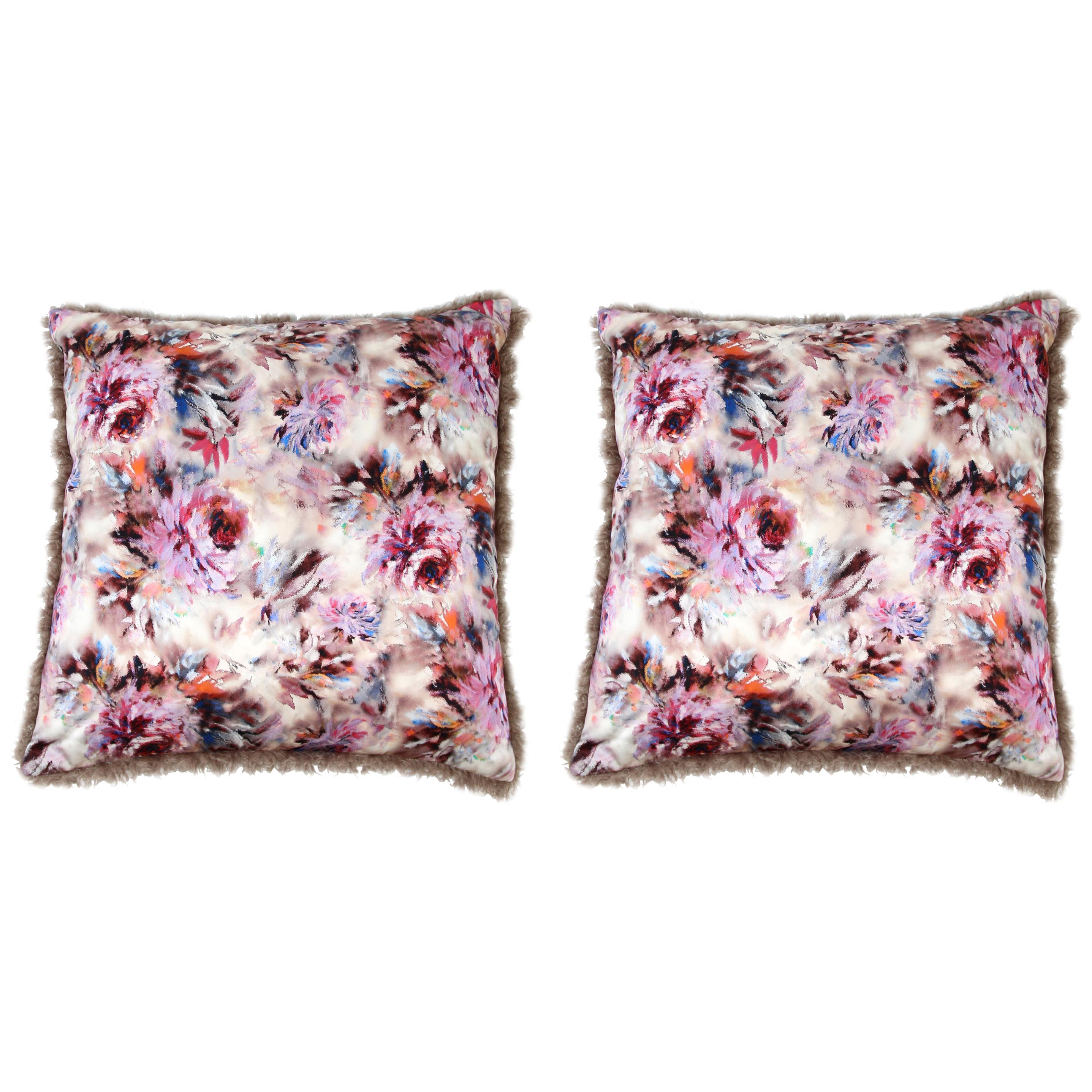 Pelush Mushroom Curly Faux Fur Throw Pillows - Large Boucle' Pillow Set Pair