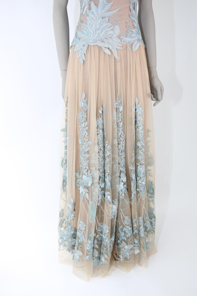 Pelush Nude And Powder Blue Tulle Dress Gown With Floral Metallic Embroidery - S For Sale 5