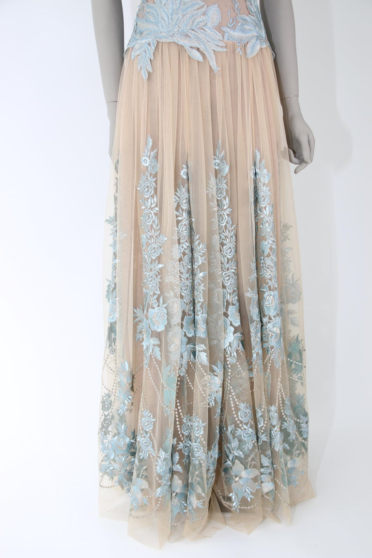 Pelush Nude And Powder Blue Tulle Dress Gown With Floral Metallic Embroidery - S For Sale 6