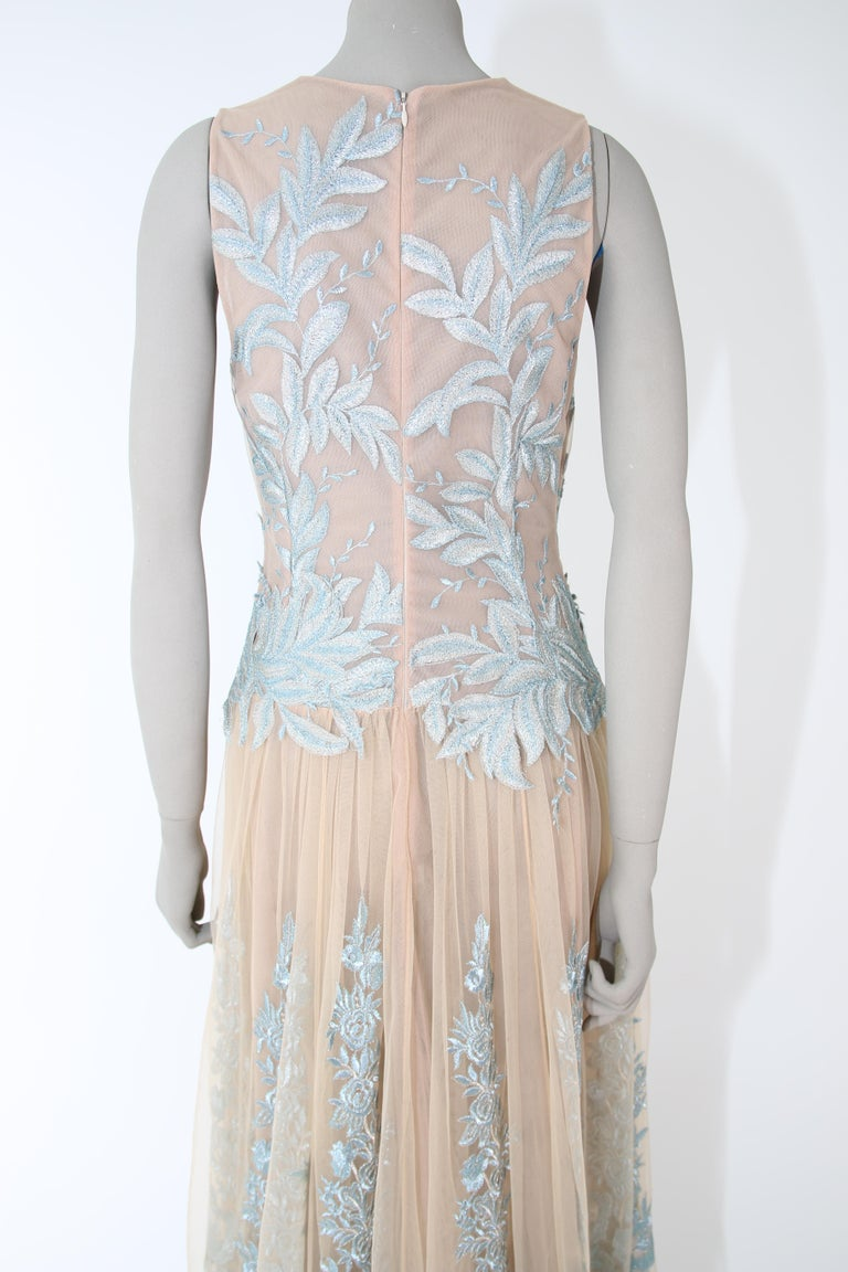 Pelush Nude And Powder Blue Tulle Dress Gown With Floral Metallic Embroidery - S For Sale 7