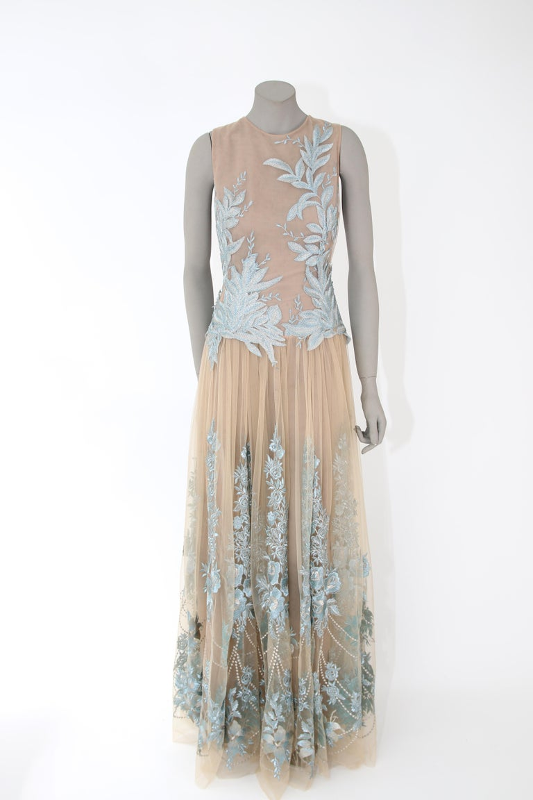 Gray Pelush Nude And Powder Blue Tulle Dress Gown With Floral Metallic Embroidery - S For Sale