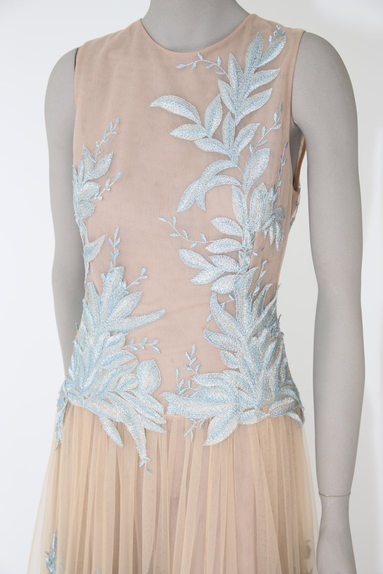 Pelush Nude And Powder Blue Tulle Dress Gown With Floral Metallic Embroidery - S In New Condition For Sale In Greenwich, CT
