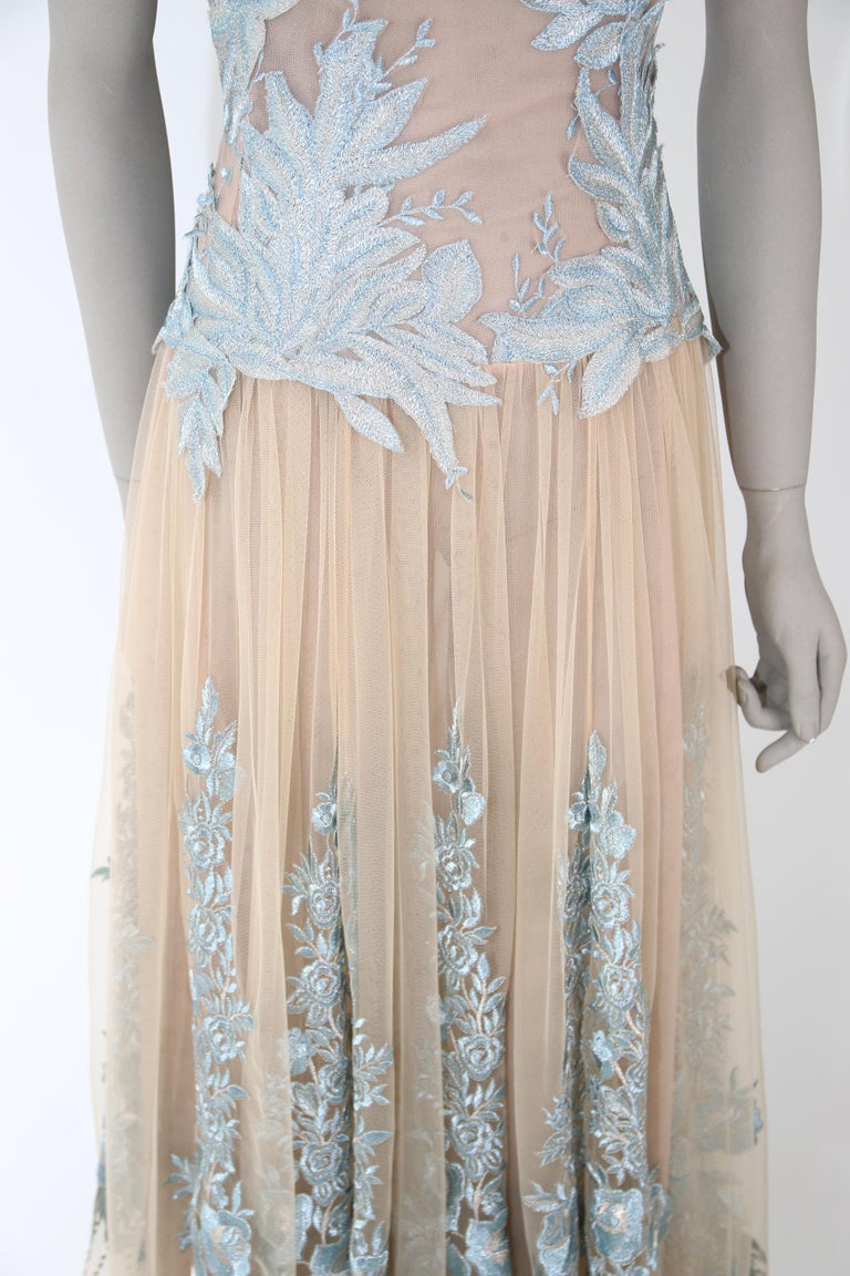 Women's Pelush Nude And Powder Blue Tulle Dress Gown With Floral Metallic Embroidery - S For Sale
