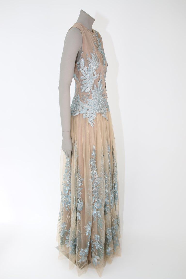 Pelush Nude And Powder Blue Tulle Dress Gown With Floral Metallic Embroidery - S For Sale 1