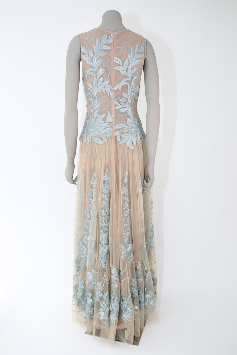 Pelush Nude And Powder Blue Tulle Dress Gown With Floral Metallic Embroidery - S For Sale 3