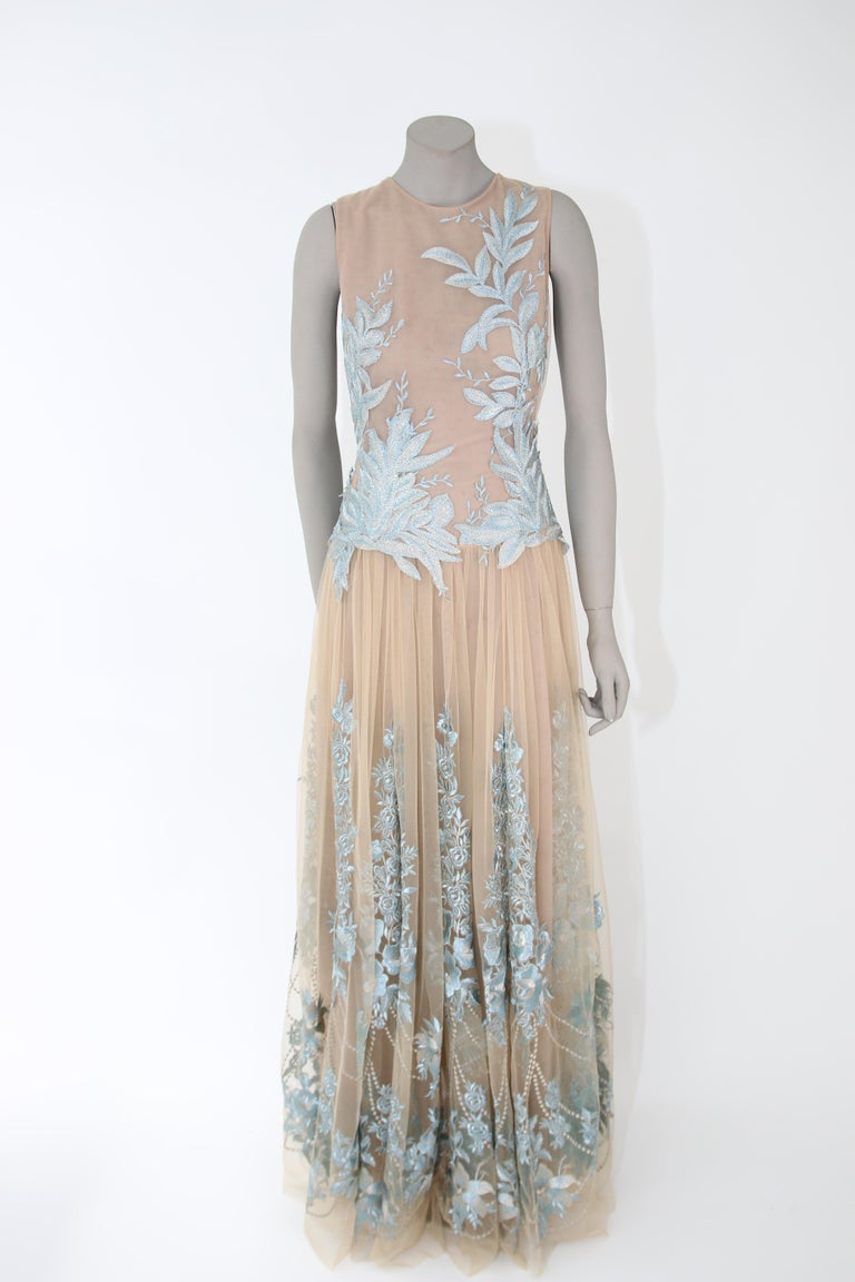 Pelush Nude And Powder Blue Tulle Dress Gown With Floral Metallic Embroidery - S For Sale 4