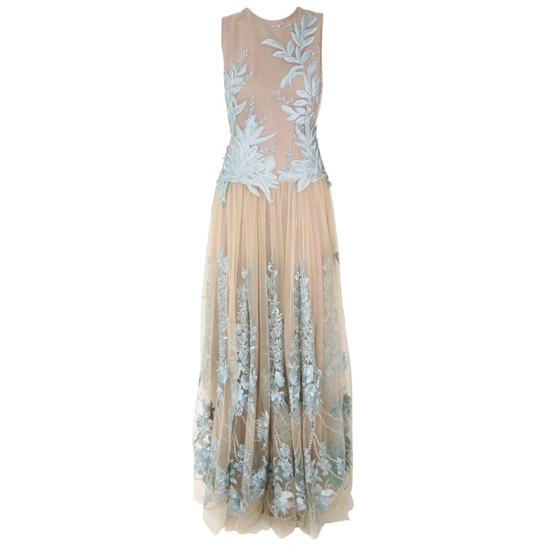 Pelush Nude And Powder Blue Tulle Dress Gown With Floral Metallic Embroidery - S For Sale