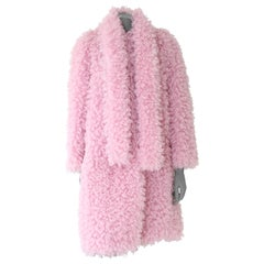 Pelush Pink Boucle' Faux Fur Coat with Printed Lining - Small