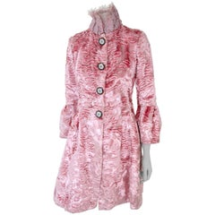 Pelush Pink Faux Fur Coat with Vintage Glass Buttons and Chantilly Lace - XS
