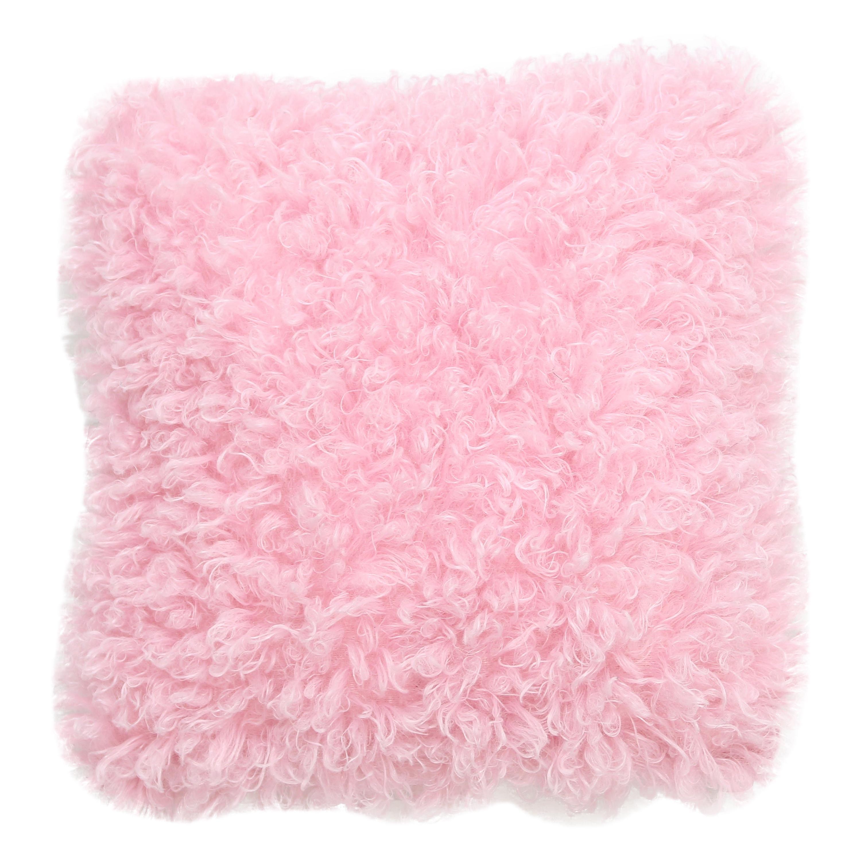Pelush Pink Poodle Faux Fur Small Throw Pillows - Cotton Candy Pillow set
