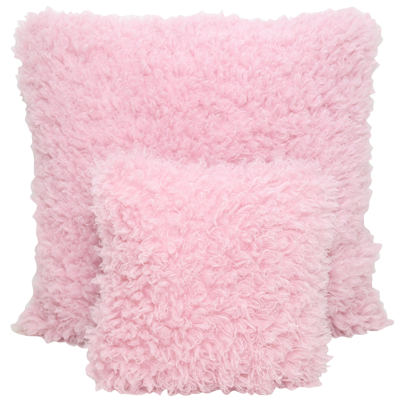 Pelush Pink Poodle Faux Fur Throw Pillows - Cotton Candy Large Pillow Set Pair