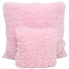 Pelush Pink Poodle Faux Fur Throw Pillows - Cotton Candy Large Pillow Set Pair