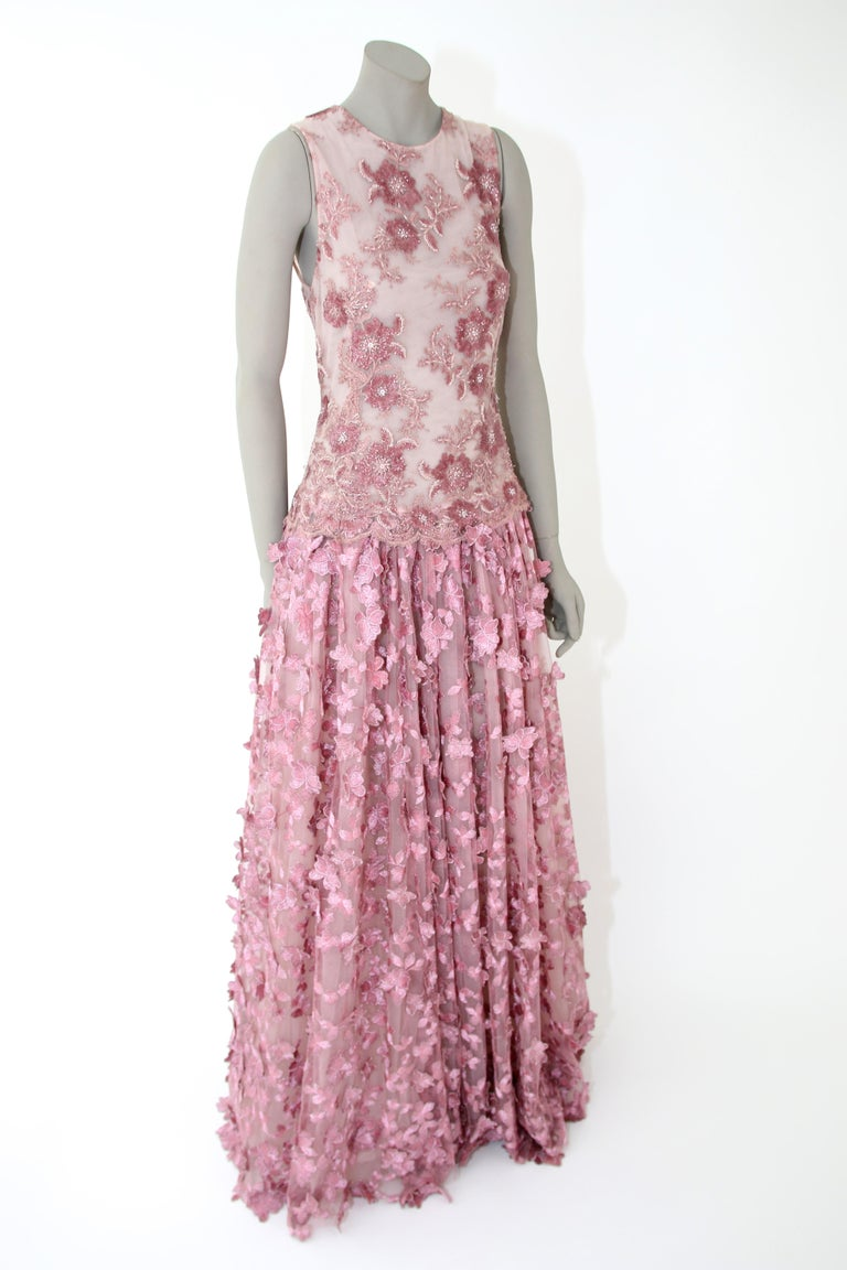 Pelush Pink Tulle Dress Gown With Three Dimensional Flowers And Embroidery - S For Sale 5