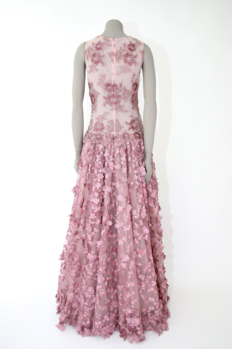 Pelush Pink Tulle Dress Gown With Three Dimensional Flowers And Embroidery - S For Sale 6