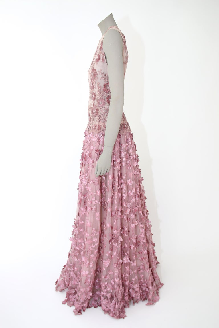 Pelush Pink Tulle Dress Gown With Three Dimensional Flowers And Embroidery - S For Sale 7
