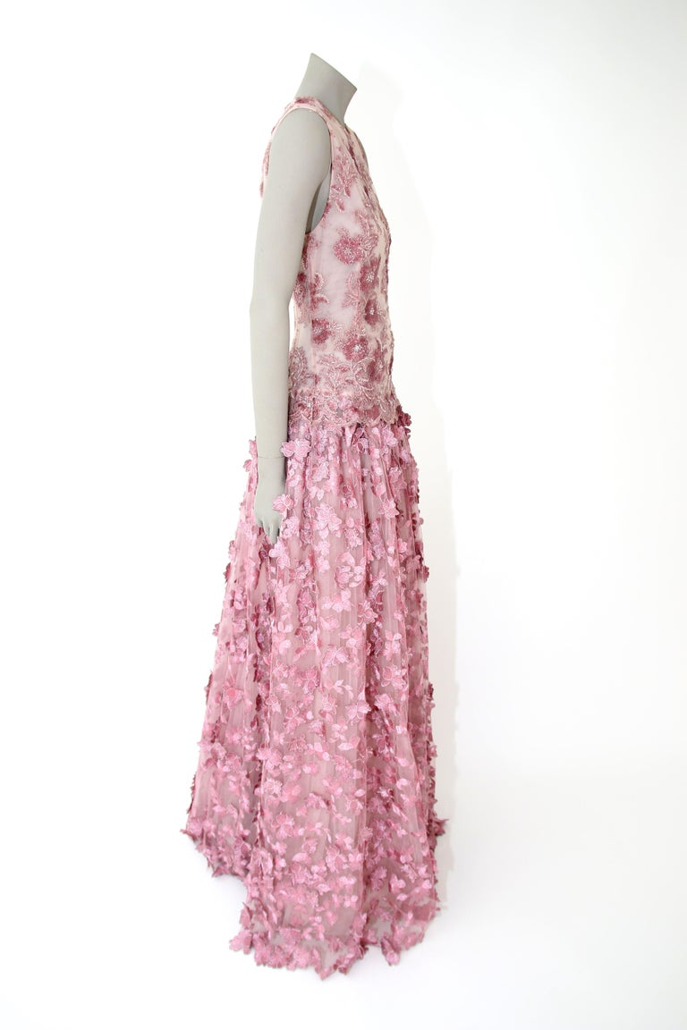 Pelush Pink Tulle Dress Gown With Three Dimensional Flowers And Embroidery - S For Sale 8