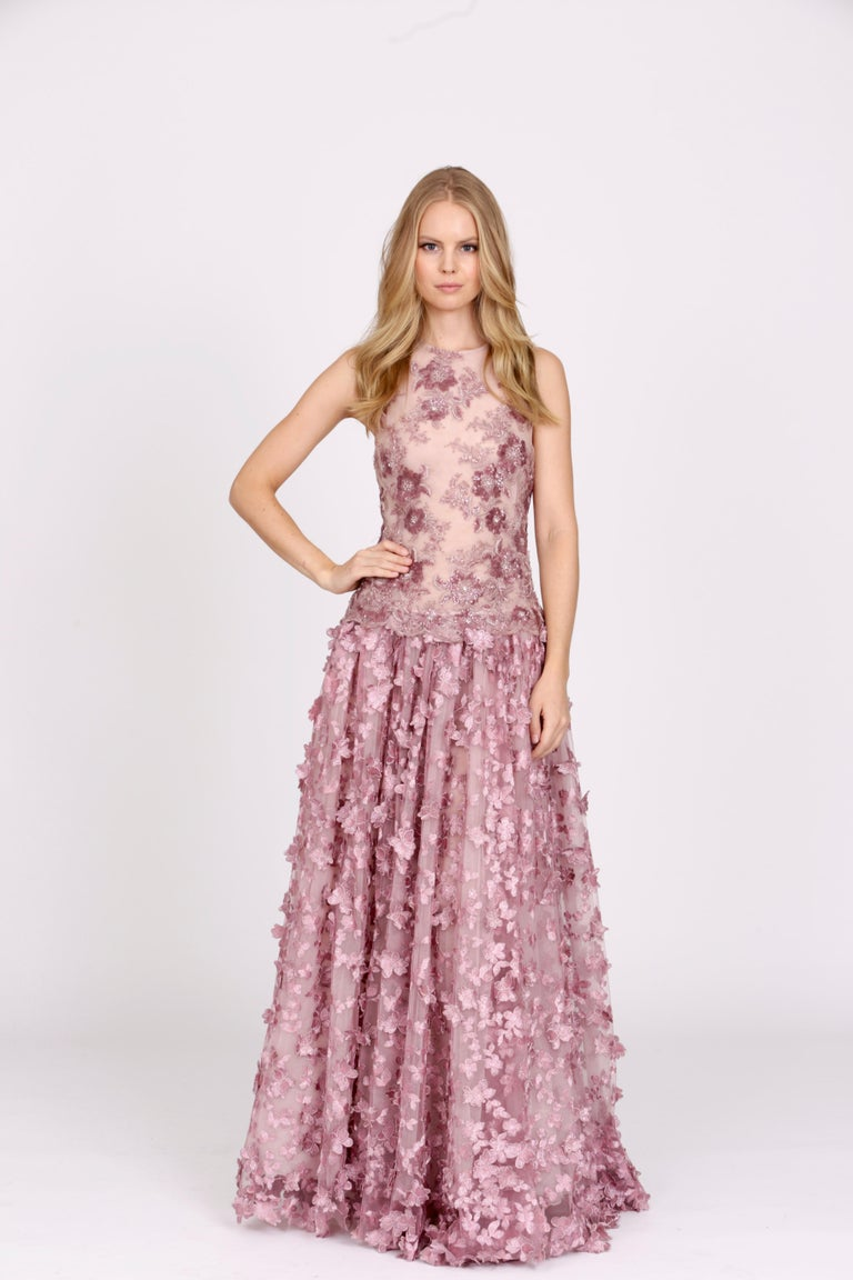 Pelush Pink Tulle Dress Gown With Three Dimensional Flowers And Embroidery - S For Sale 9