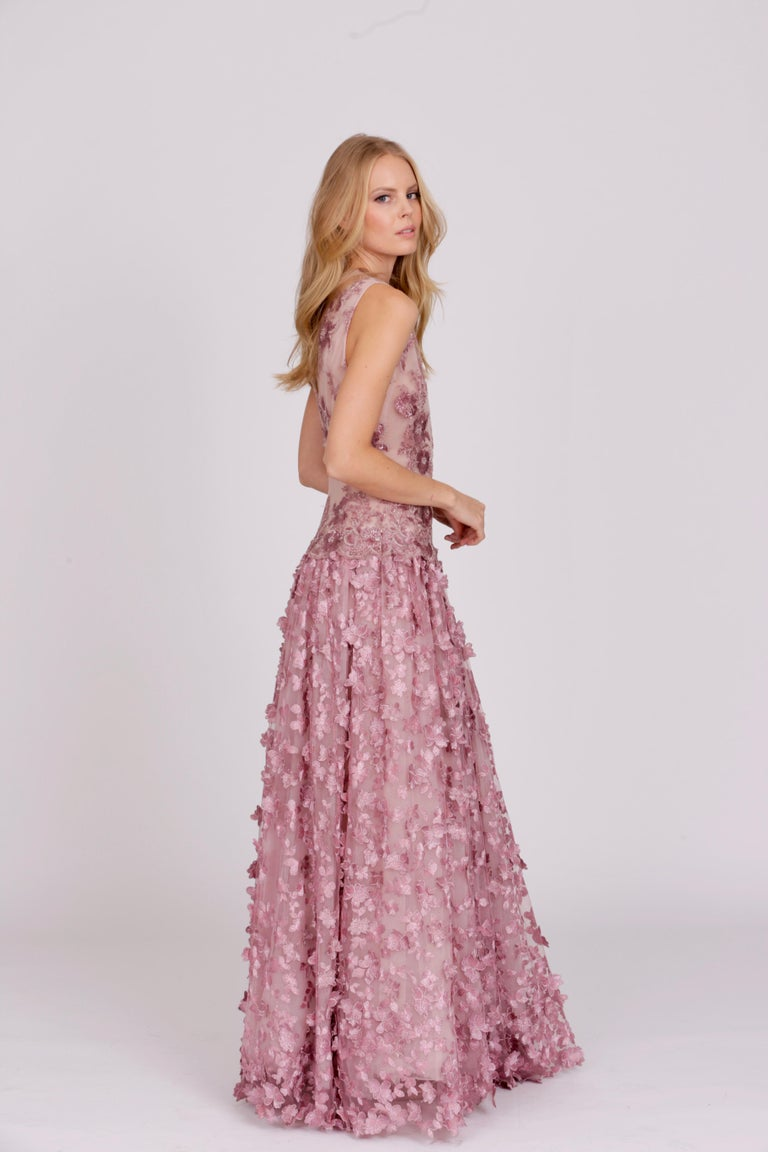 Pelush Pink Tulle Dress Gown With Three Dimensional Flowers And Embroidery - S For Sale 10