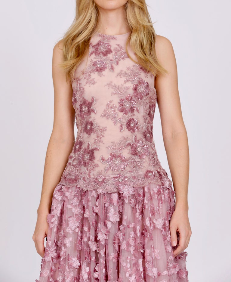 Brown Pelush Pink Tulle Dress Gown With Three Dimensional Flowers And Embroidery - S For Sale