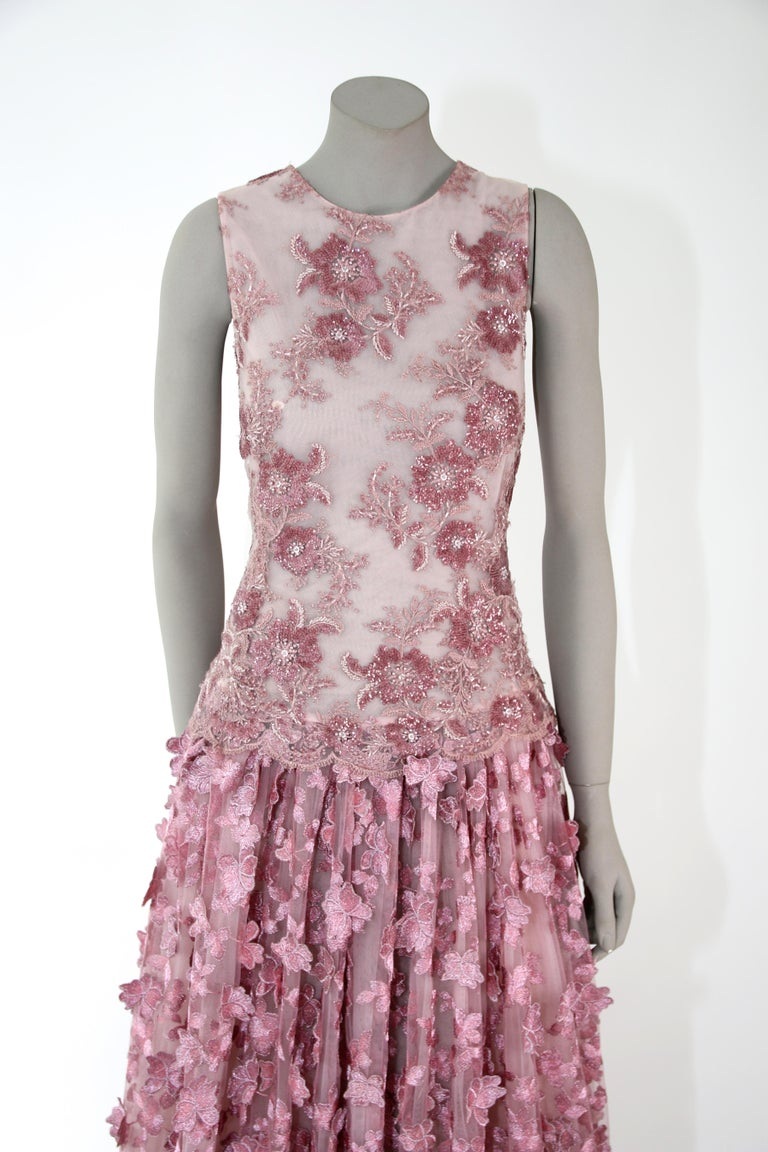 Pelush Pink Tulle Dress Gown With Three Dimensional Flowers And Embroidery - S In New Condition For Sale In Greenwich, CT