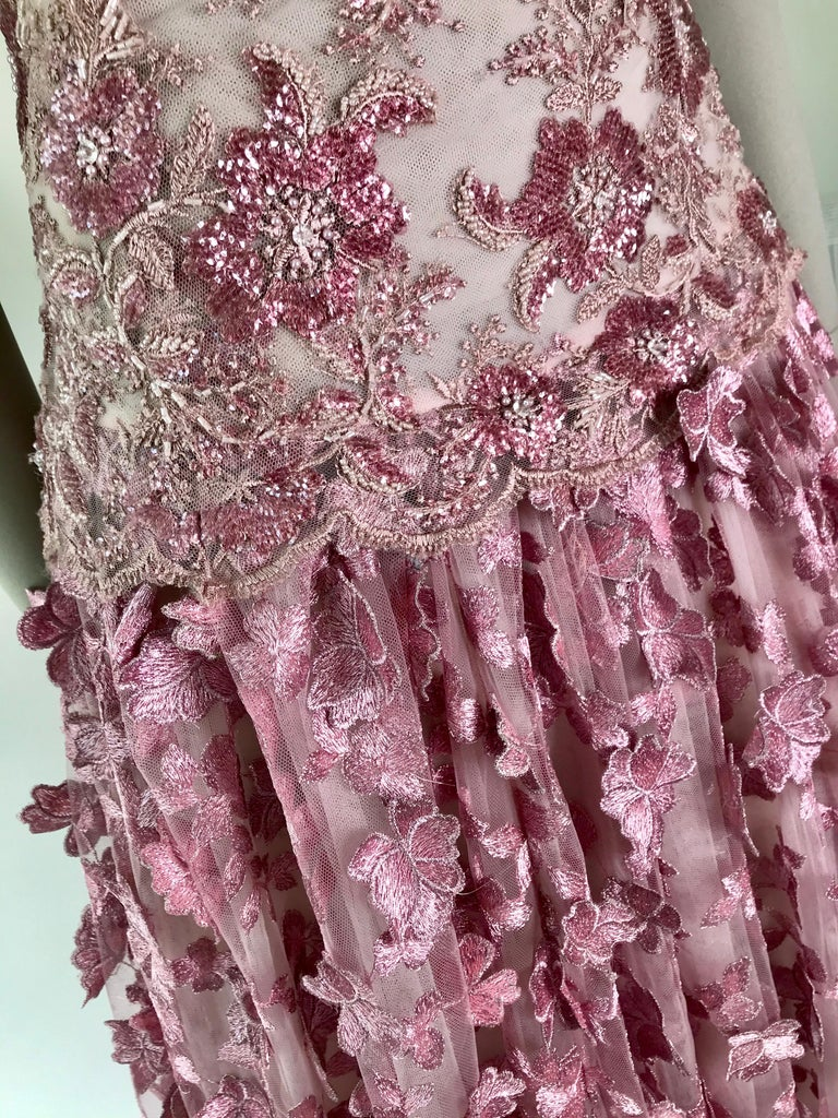 Women's Pelush Pink Tulle Dress Gown With Three Dimensional Flowers And Embroidery - S For Sale