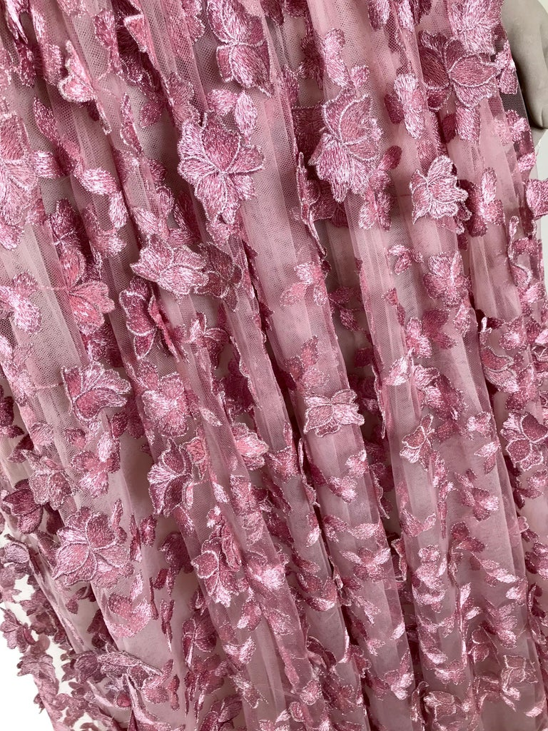 Pelush Pink Tulle Dress Gown With Three Dimensional Flowers And Embroidery - S For Sale 1