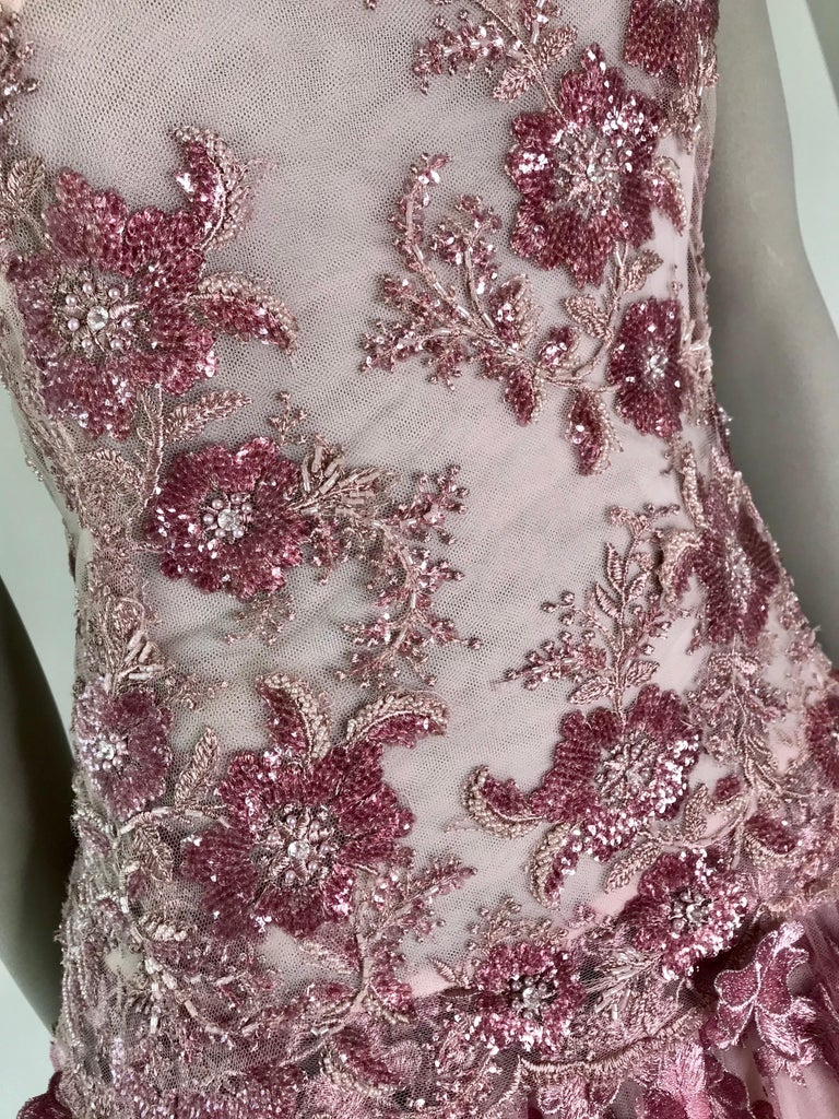 Pelush Pink Tulle Dress Gown With Three Dimensional Flowers And Embroidery - S For Sale 2