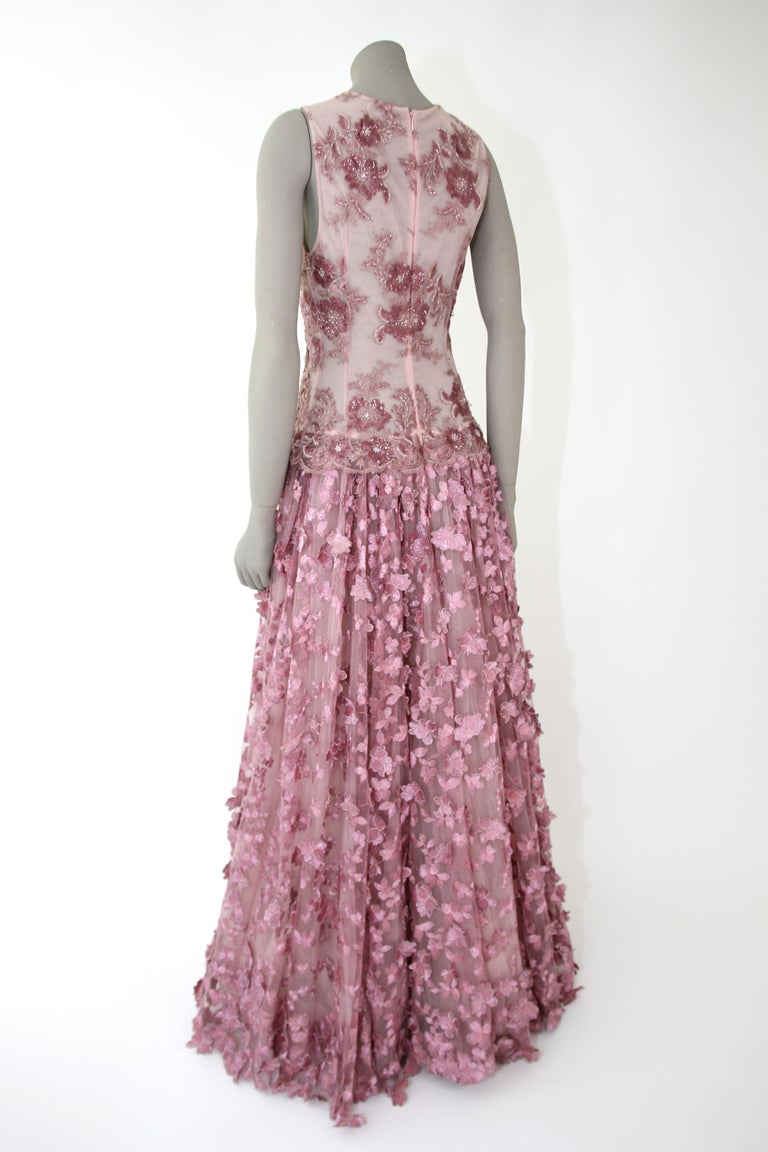 Pelush Pink Tulle Dress Gown With Three Dimensional Flowers And Embroidery - S For Sale 3