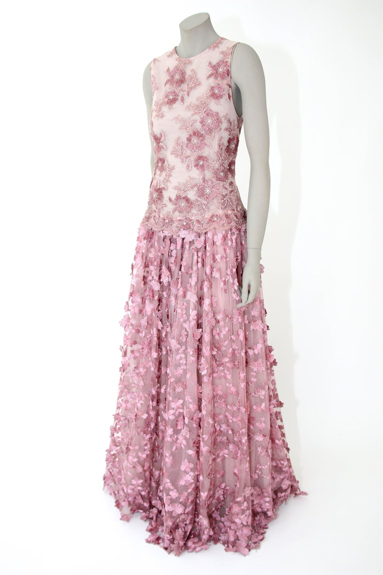 Pelush Pink Tulle Dress Gown With Three Dimensional Flowers And Embroidery - S For Sale 4