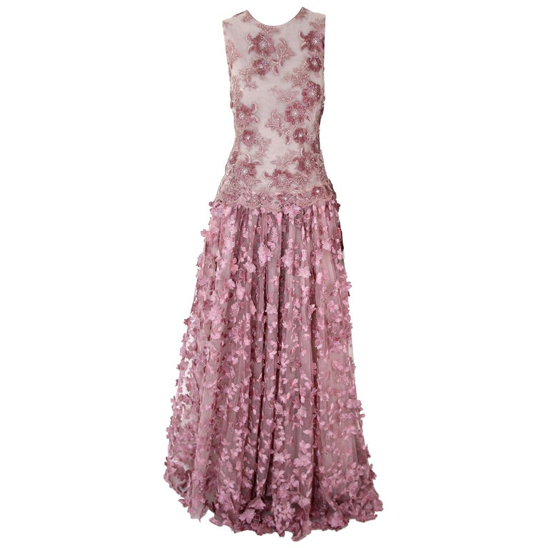 Pelush Pink Tulle Dress Gown With Three Dimensional Flowers And Embroidery - S For Sale