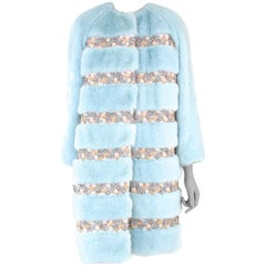 Pelush Powder Blue Faux Fur Mink Coat with Flower Embroidery and Brocade - XS