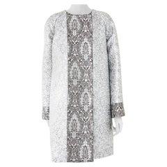 Pelush Silver Brocade Couture Coat - Medium