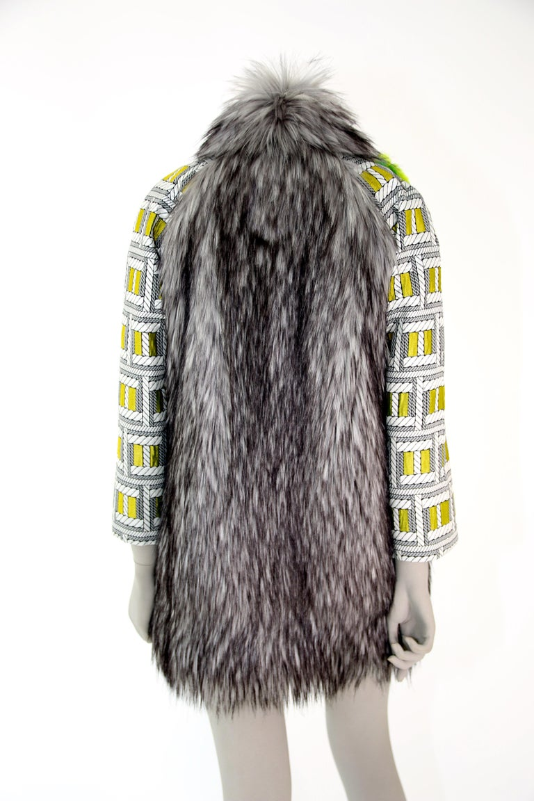 Pelush Silver Gray Faux Fur Fox Jacket With Brocade Sleeves - XS/S For Sale 7