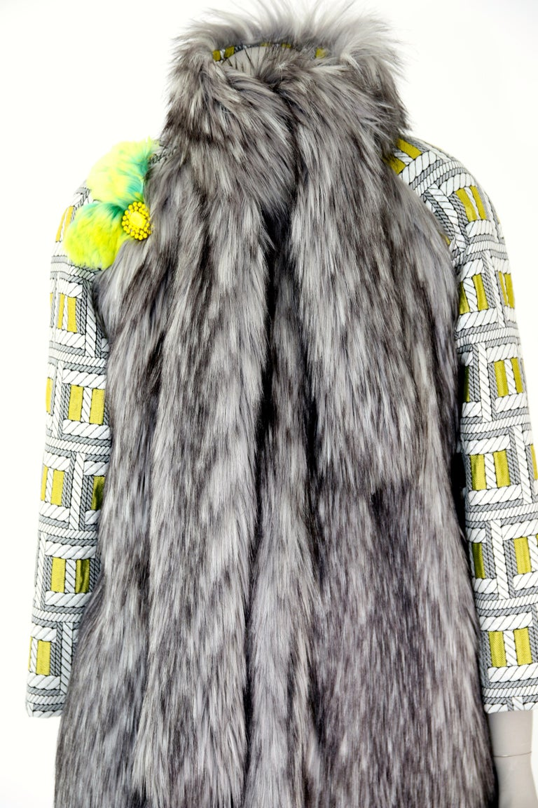 Pelush Silver Gray Faux Fur Fox Jacket With Brocade Sleeves - XS/S In New Condition For Sale In Greenwich, CT