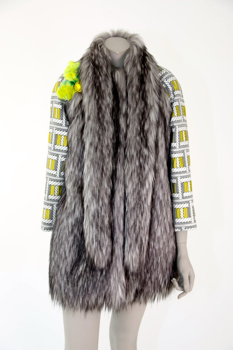 Pelush Silver Gray Faux Fur Fox Jacket With Brocade Sleeves - XS/S For Sale 1