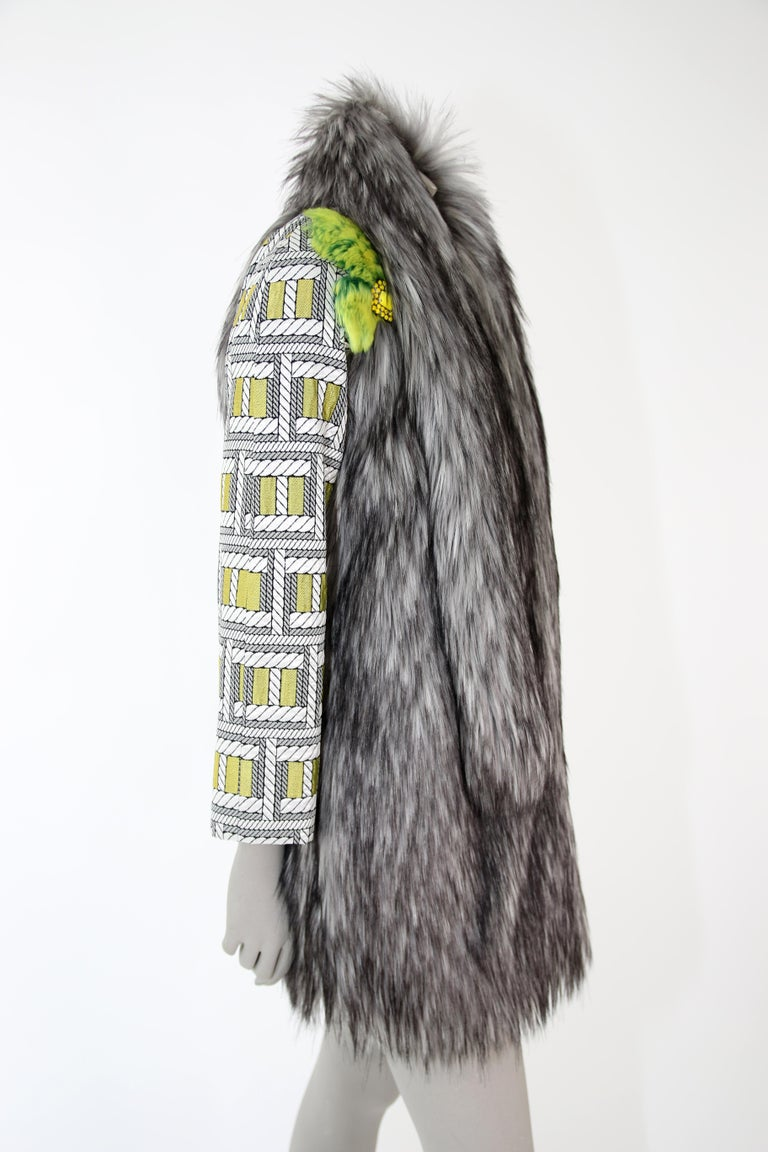 Pelush Silver Gray Faux Fur Fox Jacket With Brocade Sleeves - XS/S For Sale 3