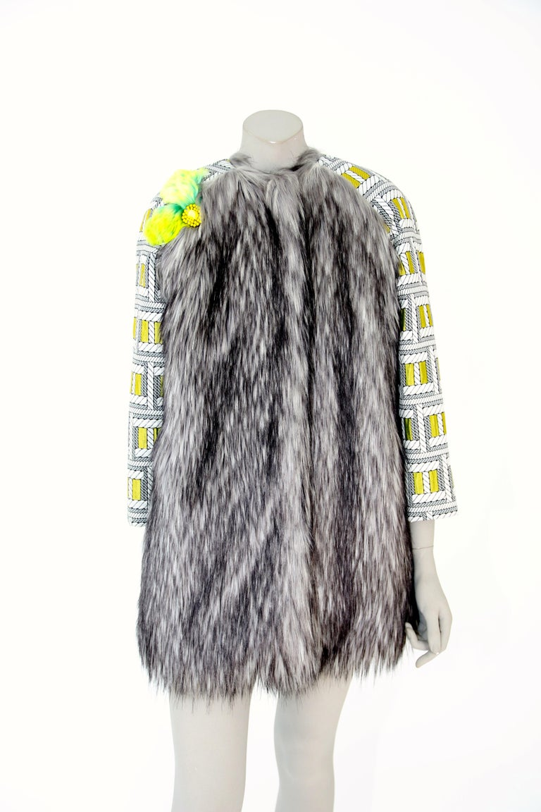 Pelush Silver Gray Faux Fur Fox Jacket With Brocade Sleeves - XS/S For Sale 5