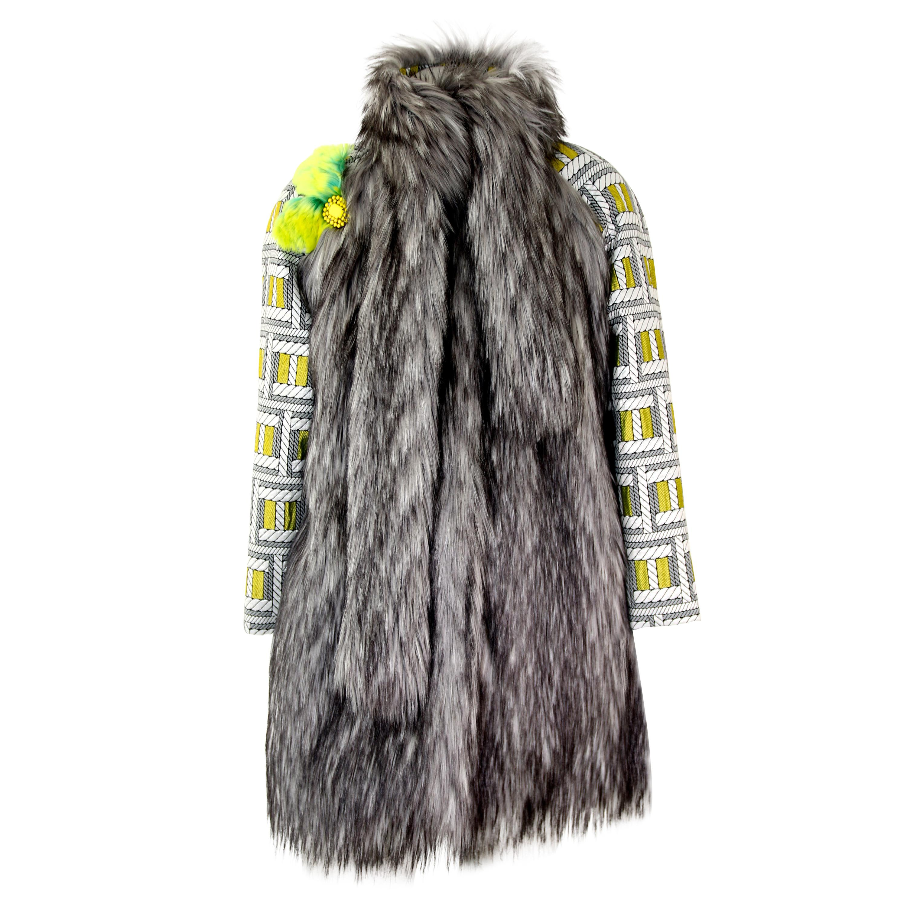 Pelush Silver Gray Faux Fur Fox Jacket With Brocade Sleeves - XS/S