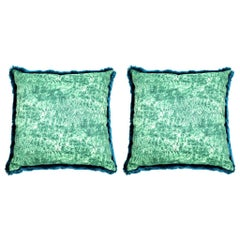 Pelush Teal Chinchilla Faux Fur Large Throw Pillow Set - Pillow Set Pair