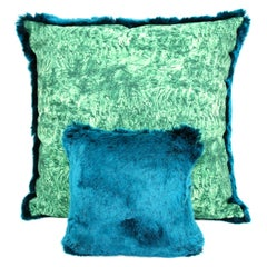 Pelush Teal Chinchilla Faux Fur Small Throw Pillows - Pillow set pair
