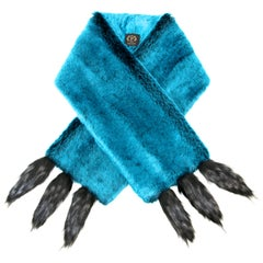 Pelush Teal Faux Fur Chinchilla Stole With Faux Fox Fringes - One Size