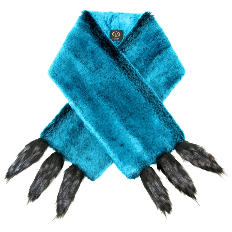 Pelush Teal Faux Fur Chinchilla Stole With Faux Fox Fringes - One Size For Sale