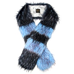 Pelush Turquoise And Navy Blue Faux Fur Fox Scarf/Stole - One Size