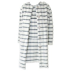 Pelush White and Black Sheared Faux Fur Coat with Check Design - Small