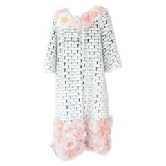 Pelush White Couture Faux Fur Mink Coat With Three Dimensional Flowers - Small