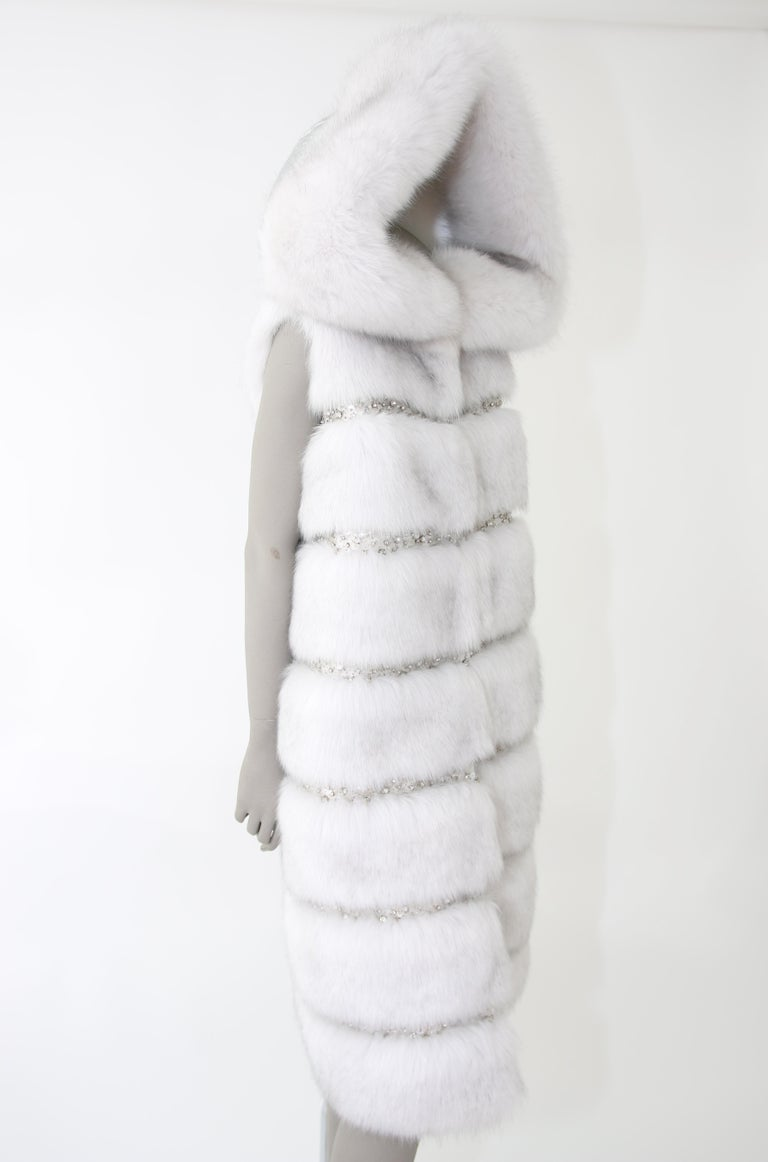 Pelush White Faux Fur Fox Vest With Crystal Embroidery And Detachable Hood - S For Sale 5