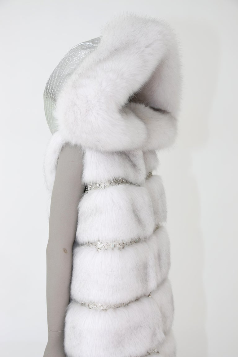 Pelush White Faux Fur Fox Vest With Crystal Embroidery And Detachable Hood - S For Sale 6
