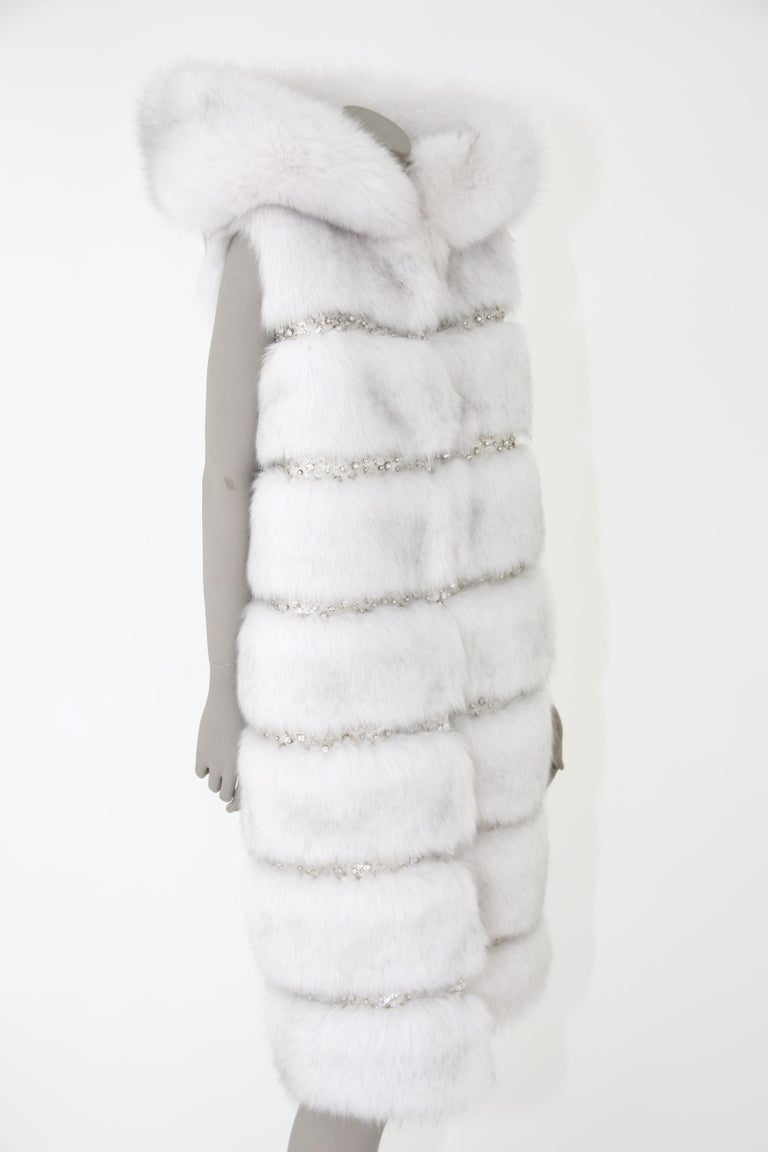 Pelush White Faux Fur Fox Vest With Crystal Embroidery And Detachable Hood - S For Sale 7