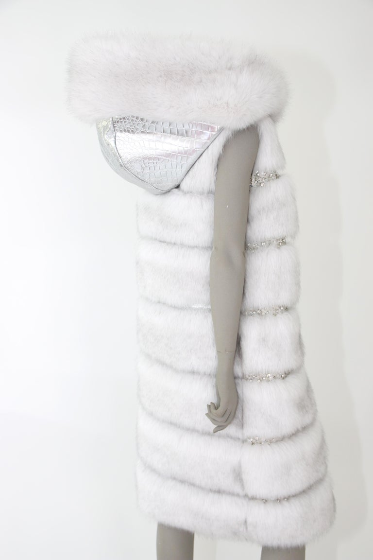 Pelush White Faux Fur Fox Vest With Crystal Embroidery And Detachable Hood - S For Sale 8