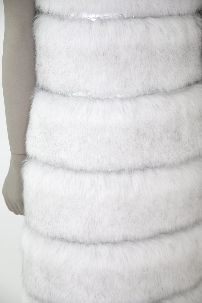 Pelush White Faux Fur Fox Vest With Crystal Embroidery And Detachable Hood - S For Sale 10